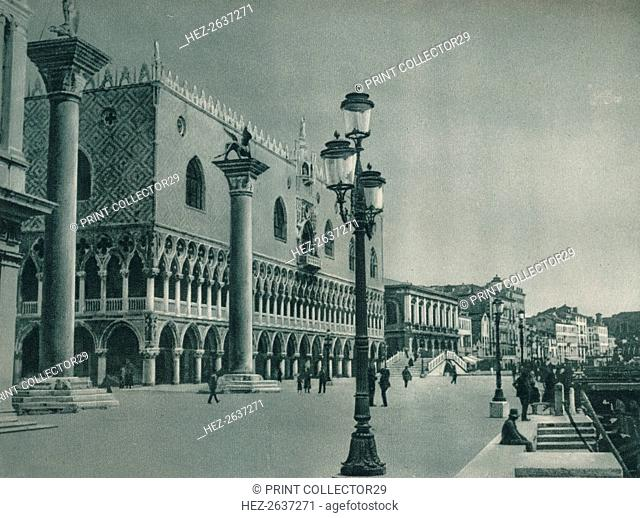 Main front of the Doge's Palace with Riva degli Schiavoni, Venice, Italy, 1927. Artist: Eugen Poppel