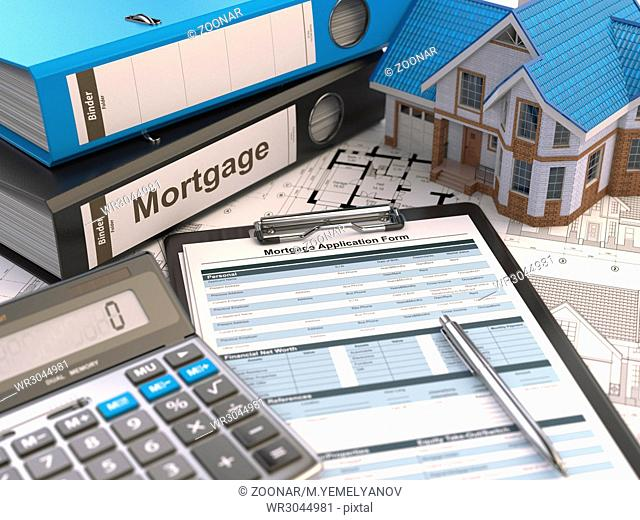 Mortgage application form, house, calculator and binders