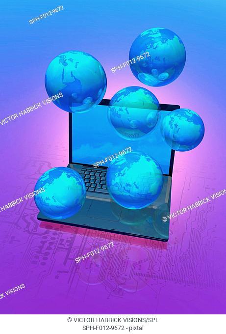 Global computer network, illustration
