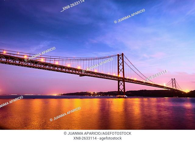 The 25 April Bridge over the River Tagus in Lisbon, Portugal
