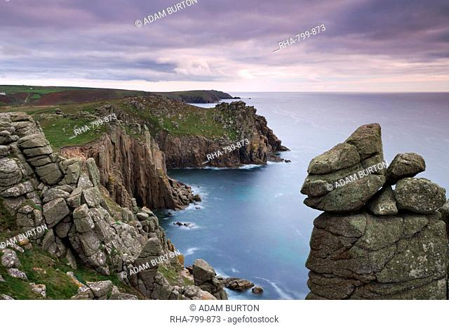 Looking across Zawn Trevilley from the clifftops at Pordenack Point towards Carn Boel, Land's End, Cornwall, England, United Kingdom, Europe