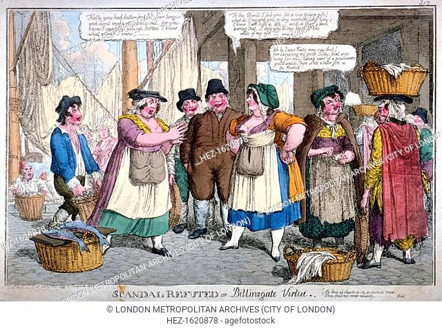 'Scandal refuted, or Billingsgate virtue', 1818. Two women arguring over reputation as men look on