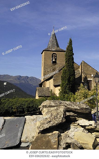Sant Peir church of Betlan village, Aran Valley, pirenees, Lleida province, Spain