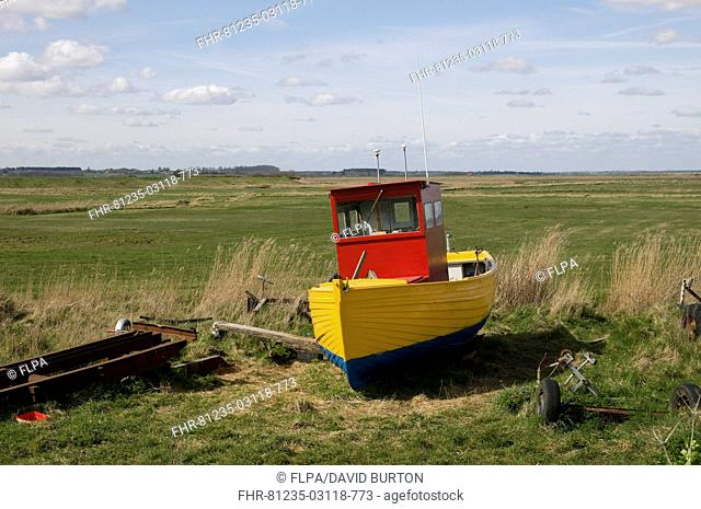 Freshly painted fishing boat on shore, Aldeburgh, Suffolk, England, april