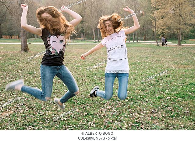 Happy girlfriends jumping for joy in park