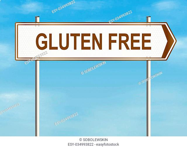 Gluten free. Road sign on the sky background. Raster illustration