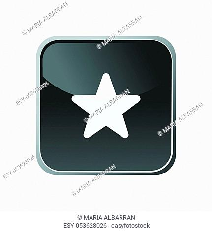 Star icon on a square button. Vector illustration