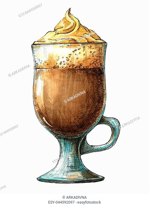 Sketch cocktail isolated on white background. Sketch of coffee cocktail. Painted markers