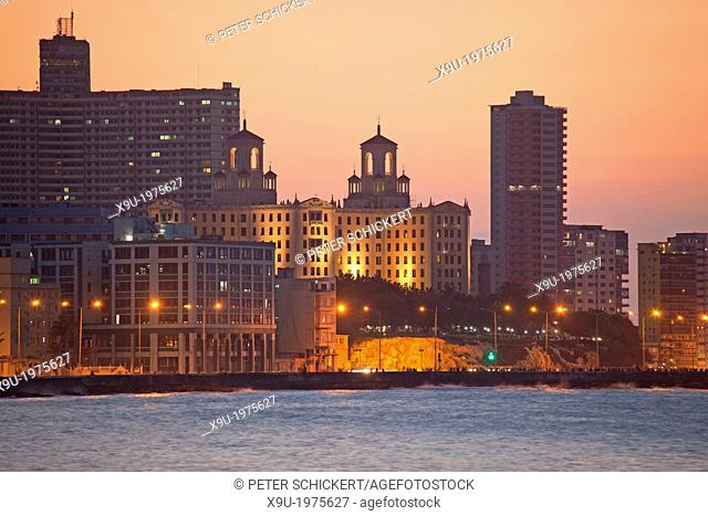 Malecon with National Hotel and FOCSA in Havana, Cuba, Caribbean