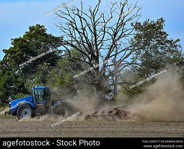 16 September 2020, Brandenburg, Schöneiche: A farmer drives over a field with a tractor and trailed cultivator and kicks up a lot of dust from the dry soil
