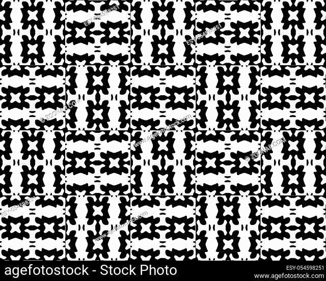 Digital style technique modern abstract geometric ethnic or tribal style seamless pattern design in black and white colors