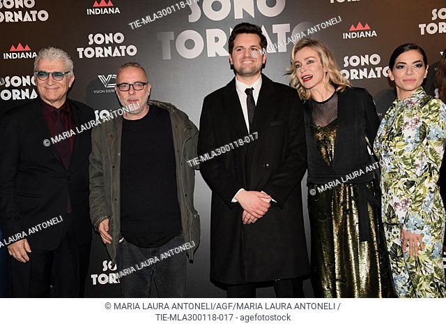 The director Luca Miniero and cast Marta Bulgherini, Gioele Dix, Frank Matano, Stefania Rocca, Eleonora Belcamino,the screenplayer Nicola Guaglianone during the...