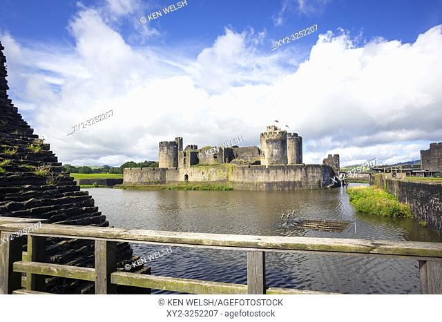 Caerphilly, Caerphilly, Wales, United Kingdom. Caerphilly castle with its moat