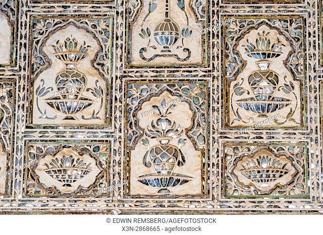 Jaipur, India; Amber Fort - Decorative tiling