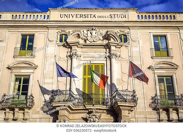San Giuliano Palace, University of Catania building at University square (Piazza Universita) in Catania city on the east side of Sicily Island, Italy