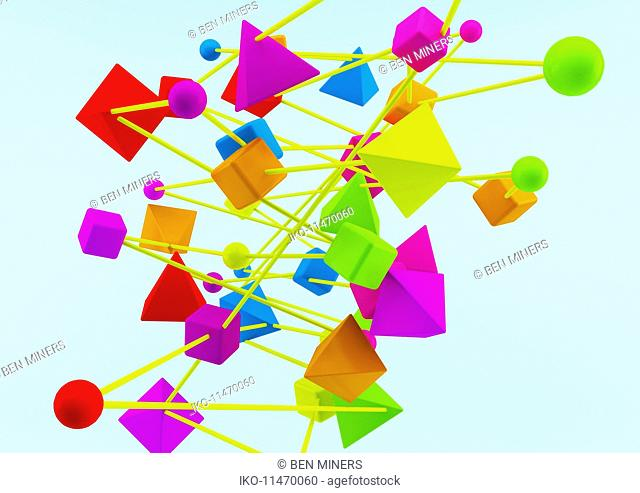 Connected multicolored geometric shapes on blue background