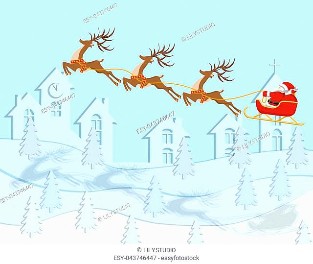 New Year Christmas. A drawing of Santa Claus arriving on deer. In color with a shadow over the city. Vector illustration