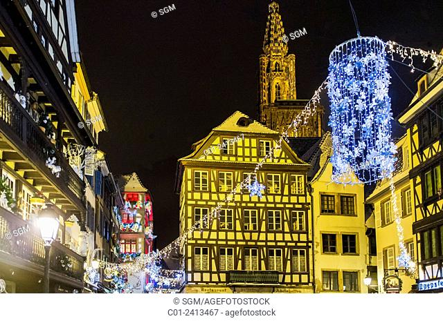 'Place du Marché aux Cochons de Lait' square and cathedral at night on Christmas time Strasbourg Alsace France
