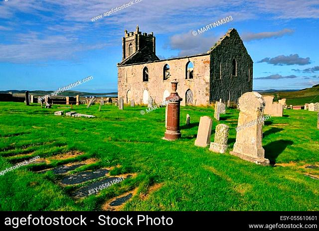 Landscape view of Old Kilchoman parish church on Isle of Islay, Scotland, United Kingdom