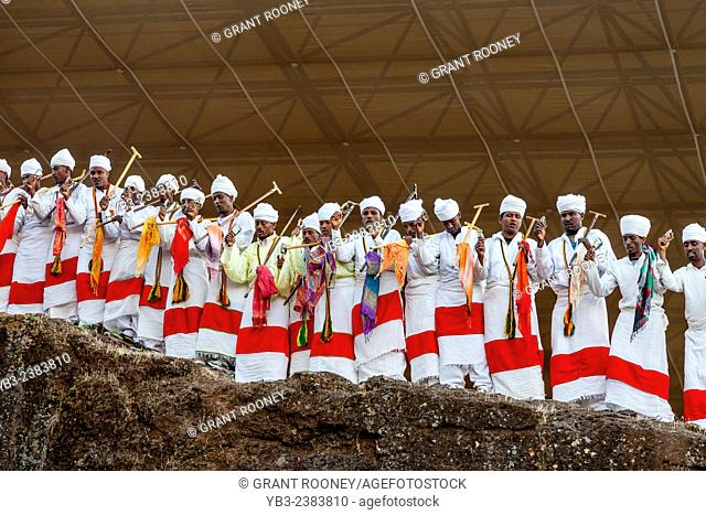 Priests Chant and Sway During Christmas Day Celebrations, Beite Maryam Church, Lalibela, Ethiopia