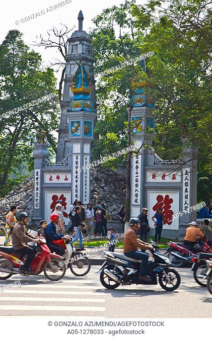 Ngoc Soc Jade mountain temple in Hoam Khien lake.  Hanoi. Vietnam