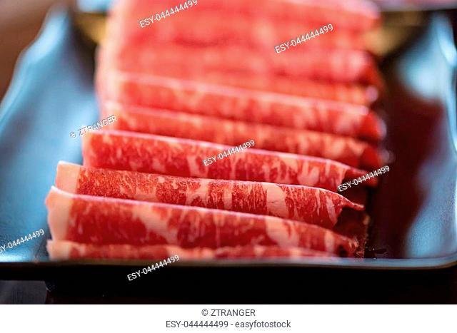 Close up of japan a5 beef called Hida wagyu for sukiyaki and shabu in japanese restuarant at hida takayama japan