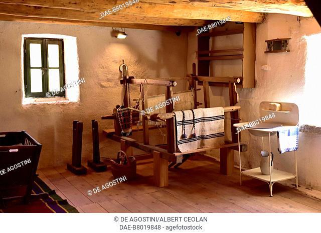 Room with a loom for weaving, traditional house, Roski Slap, Krka National Park, Croatia. Roski Slap, Ethnographic Museum of Krka National Park