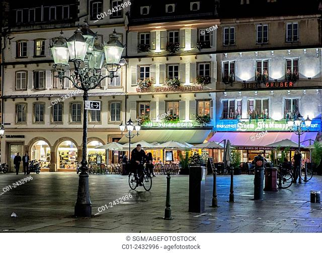 Gutenberg square with restaurants at night Strasbourg Alsace France