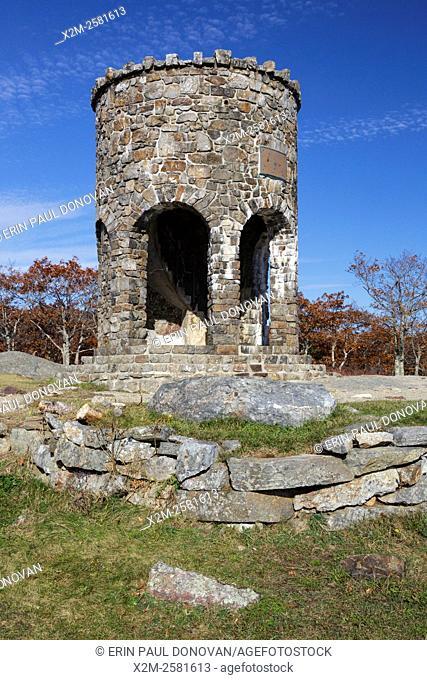 Mt. Battie Tower on the summit of Mt. Battie in Camden Hills State Park in Camden, Maine USA during the autumn months