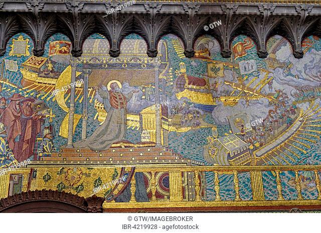 Basilica Notre-Dame de Fourvière, Mosaic of the Lepante Battle, Unesco World Heritage Site, Lyon, Rhone, France