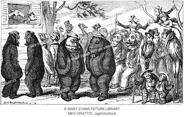 'Fellows of the Zoological Society' by George Cruikshank. Cruikshank pairs the fellows up with their look-a-like animal