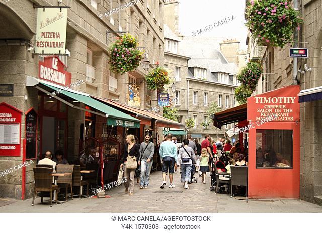 Europe, France,Bretagne Brittany Region, Saint Malo City, people walking in the street