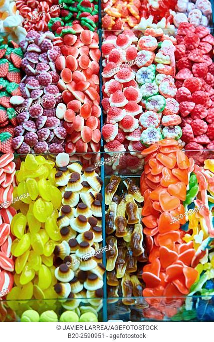 Candies, Mercat St Josep, La Boqueria market, Las Ramblas. Barcelona. Catalonia. Spain