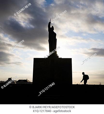 Ingolfur Arnarson memorial at Arnarholl  Reykjavik Iceland