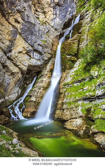 Savica waterfall. Triglav National Park. Upper Carniola region. Slovenia, Europe