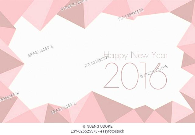 happy new year 2016 Rose Quartz colored triangle polygon pattern background