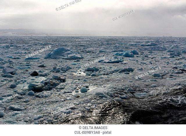 Arctic ocean and shorefast ice, Wahlenberg Fjord, Nordaustlandet, Svalbard, Norway