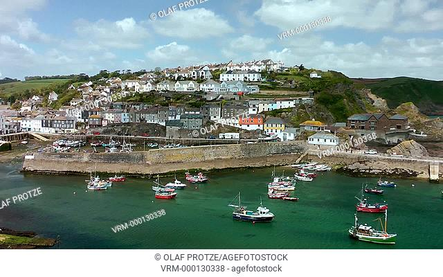 View over Mevagissey a small fishing town at the Cornwall coast, England, UK