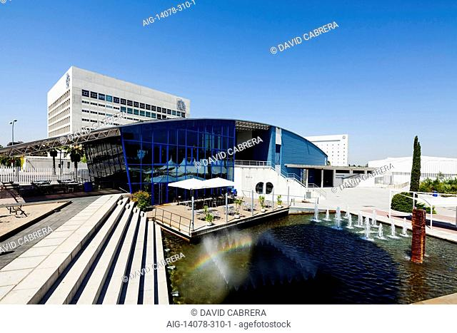 Outdoors pavillion, behind: Caja Granada Headquarter building .Science Park. Granada. Spain (Construction Year: 2005-2008)