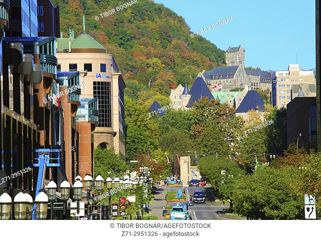 Canada, Quebec, Montreal, McGill College Avenue, Mount Royal,