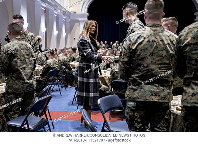 First Lady Melania Trump, center, greets Marines with United States President Donald J. Trump, not pictured, at Marine Barracks in Washington, D.C., U