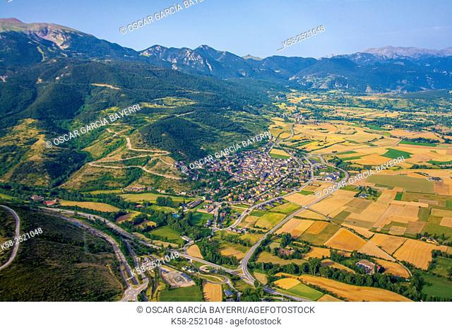 Aerial view of the Cerdanya with the people of Alp and view of the Pyrenees, Spain