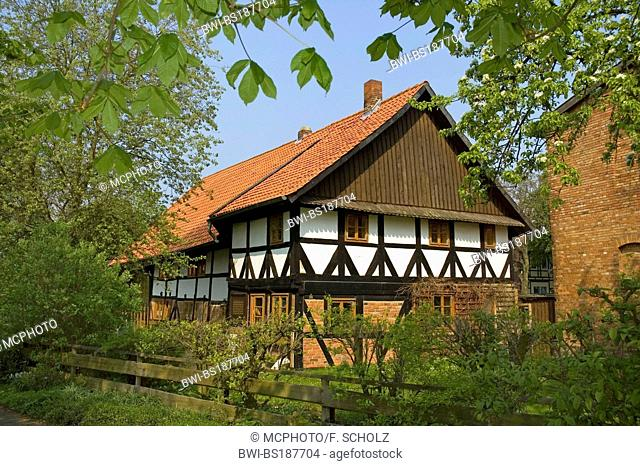timber framed house at Klein Solschen, Germany, Lower Saxony, Ilsede