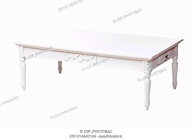 Elegant coffee table over white