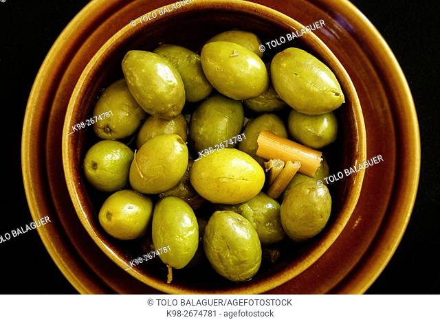 Olives trencades mallorquinas (typical olives). Majorca, Balearic Islands, Spain