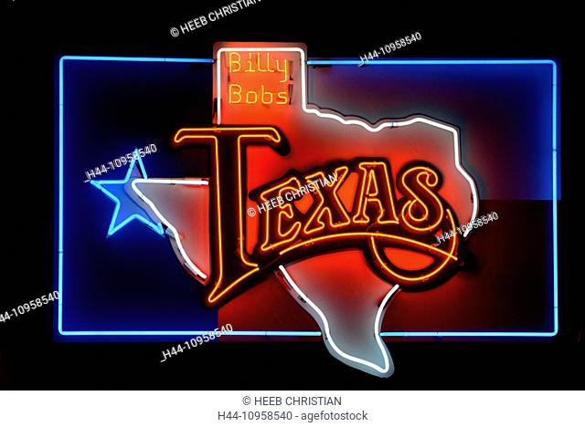 USA, United States, America, America, Texas, Fort Worth, Neon sign, Billy Bobs, Honky Tonk, nightlife, neon, map