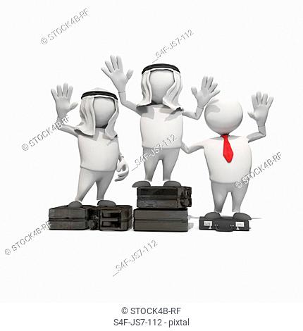 Anthropomorphic figures with fuel can and briefcase standing on winners podium, CGI
