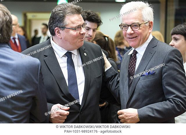 Polish Foreign Minister Jacek Czaputowicz (R) , Lithuanian Minister of Foreign Affairs Linas Linkevicius prior to the FAC the EU Foreign Ministers Council at...