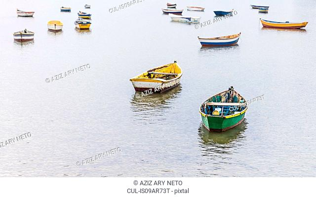 Group of anchored rowing boats, Manguinhos, Buzios, Rio de Janeiro, Brazil