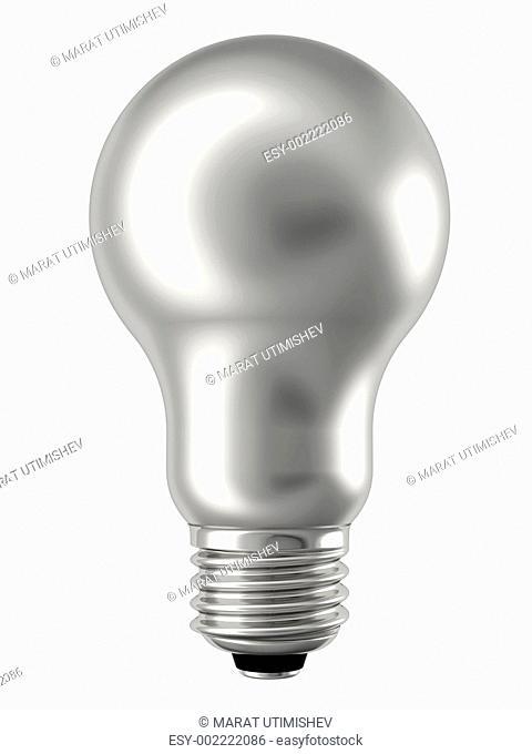 Silver lightbulb isolated on white